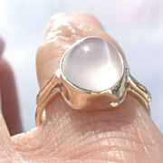 9kt Yellow Gold Cabochon Grey Moonstone Solitaire Ladies Ring