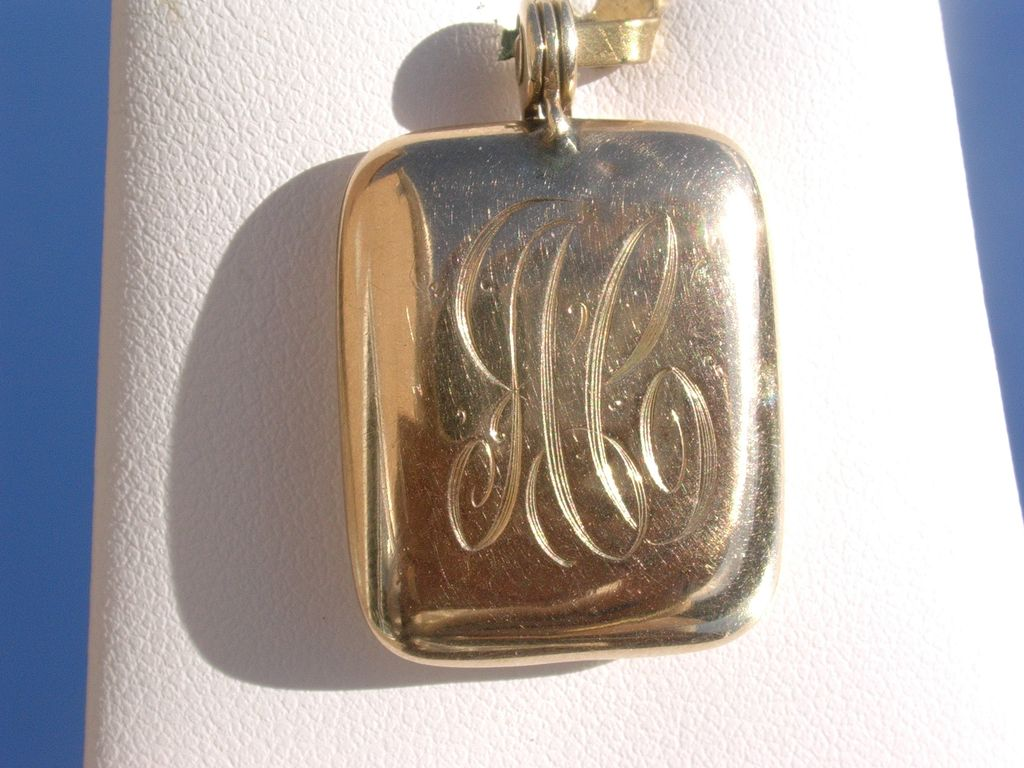 """14kt Vintage Rectangle Locket Initials """"AC"""" Engraved"""