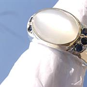 Sterling/9kt Gold Moonstone Multi Sapphire Unisex Ring