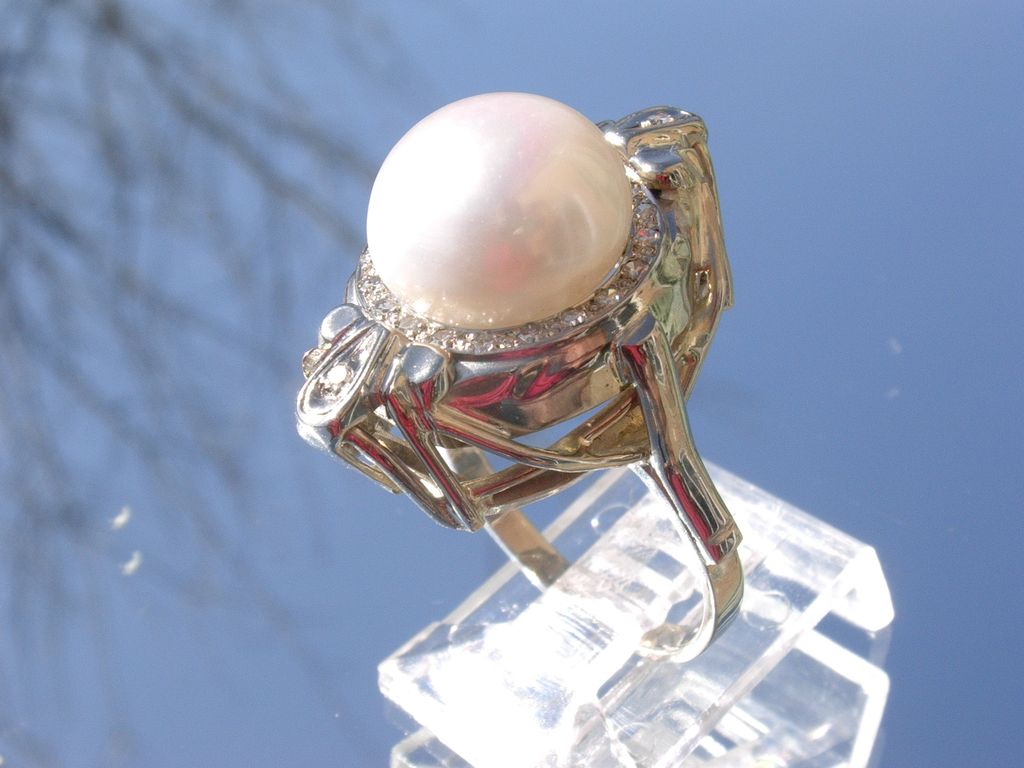 14kt White Gold Vintage Large Freshwater Pearl/Multi Diamond Ladies Ring