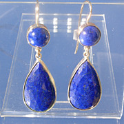 14kt Deep Blue Round and Faceted Pear Shape Lapis Lazuli Dangle Earrings