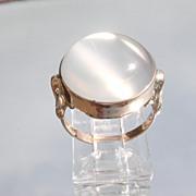 9kt Pink Gold LARGE Round Semi-Translucent Grey Moonstone Ladies Ring