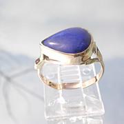 9kt Pink Gold Pear Shape Royal Blue Lapis Lazuli Ladies Ring