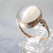9kt Pink Gold Round Smokey Grey Moonstone Ladies Ring