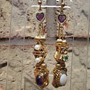 14kt  Amethyst Heart, Diamond, Culture Pearl, Ruby, Emerald, Opal, Amethyst Slide Earrings