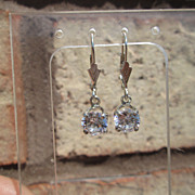 """Sterling """"One and Half Carat"""" Cubic Zirconia Dangle Earring"""