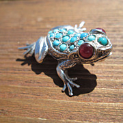"Sterling ""Bright Eyes"" Ruby/Multi Turquoise FROG  Brooch  Combination Pendant"