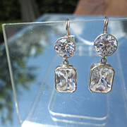 Sterling/14kt Post Round/Square Cubic Zirconia Dangle Earrings