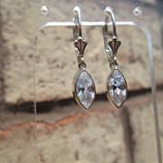 Sterling Dangle Marquise Cut Cubic Zirconia Earrings