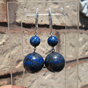 Royal Blue/Pyrite Double Lapis Lazuli Sterling Dangle Earrings