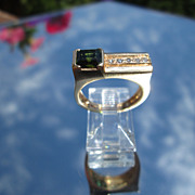 14kt Vintage Yellow Gold Square Tourmaline/Multi Diamond Unisex Ring
