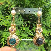 Sterling/Vermeil Labradorite/Mother-of-Pearl Multi Gemstone Slide Dangle Earrings