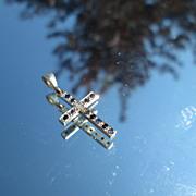18kt White Gold Vintage Multi Sapphire/Diamond Cross