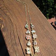 Sterling/Vermeil Finish Multi Gemstone Slide Necklace
