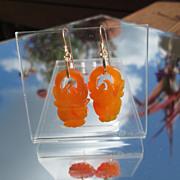 14kt Carved Orange/Brown Jade Dangle Earrings