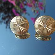 14kt Vintage Round Multi Braided Diamond Stud Earrings