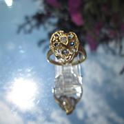 14kt Vintage Sapphire and Diamond Leaf Ladies Ring