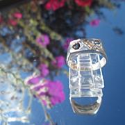 Sterling/9kt Yellow Gold Sleek Rectangular Sapphire/Diamond Unisex Ring