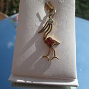 18kt Vintage Aquamarine/Citrine Pelican Pendant/Charm