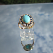SOLD 9kt Pink/Yellow Gold and Sterling Turquoise/Sapphire Ladies Ring