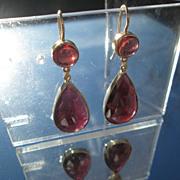 SOLD 14kt Round and Multi Pear Shape Faceted Almandine Garnet Dangle Earrings