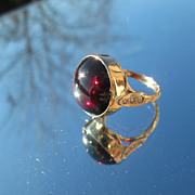 9kt Pink Gold Large Round Cabochon Almandine Garnet and Multi Diamond Ladies Ring