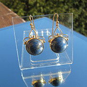 9kt Yellow Gold Large Round Royal Blue Cabochon Lapis Lazuli Dangle Earrings