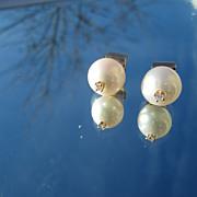 14kt Freshwater Pearl/Diamond Stud Earrings