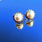 14kt Vintage Freshwater Pearl/Diamond Earrings