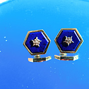 18kt Vintage Hexagon Shape Lapis Lazuli and Diamond Earrings