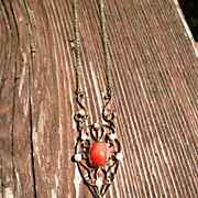 14kt Coral/Freshwater Pearl Vintage Lavaliere
