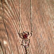 14kt Ruby/Diamond  Heart/Bird Vintage Lavaliere