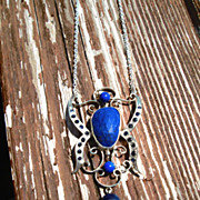 Sterling Silver Lapis Lazuli Butterfly Inspired Pendant/Necklace