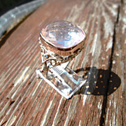 Sterling Silver/9kt Pink Gold Cushion Cut Light Pink Rose Quartz and Diamond Ladies Ring