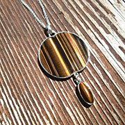 Sterling Silver Apple Shaped Tiger Eye Pendant with Oval Drop Bead and Chain