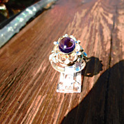 Sterling Silver/9kt Yellow Gold Cabochon  Amethyst/Turquoise/Diamond Ladies Ring