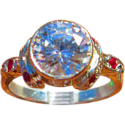 SOLD Sterling Silver  Round Swarovski Cubic Zirconia and Multi Ruby Ladies Ring