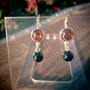 14kt  Yellow Gold Almandine and Dark Red Garnet Dangle Earrings