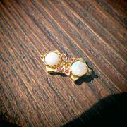 14kt Double Round Opal and Multi Rubies Triangle Shape Vintage Slide