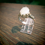 Sterling/9kt Yellow Gold Oval Fiery Opal/Diamond Ladies Ring