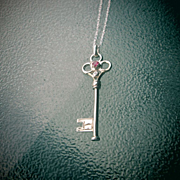 Sterling Silver Ruby/Diamond Key Pendant with Chain