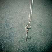 Sterling Silver Sapphire Key Pendant with Silver Chain