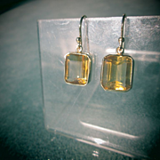 SOLD 9kt Yellow Gold Square Citrine Dangle Earrings