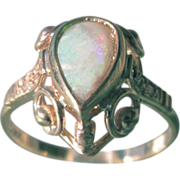 9kt Yellow Gold Volcanic Fireworks Pear Shape Opal and Multi Diamond Ladies Ring