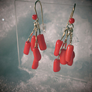 SOLD 9kt Yellow Gold Multi Coral Droplet Dangle Earrings