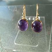 9kt Yellow Gold Deep Purple Cabochon Amethyst Dangle Earring