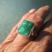 Sterling Silver/9kt Yellow Gold Vibrant Rectangular Jade/Diamond Ladies Ring
