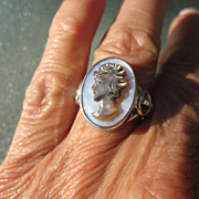 Sterling Silver Mother of Pearl Carved Cameo of Lady Ring