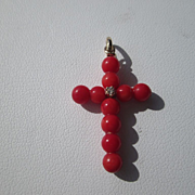14kt Red Coral/Diamond Cross