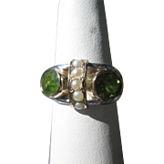 SOLD Sterling Silver/9kt Yellow Gold Peridot and Multi Seed Pearl Ladies Ring